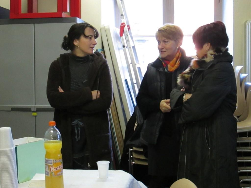 Bérangère Pothier, Annie Delic, Françoise Pothier. Une partie de l'équipe besogneuse de l'Andra.