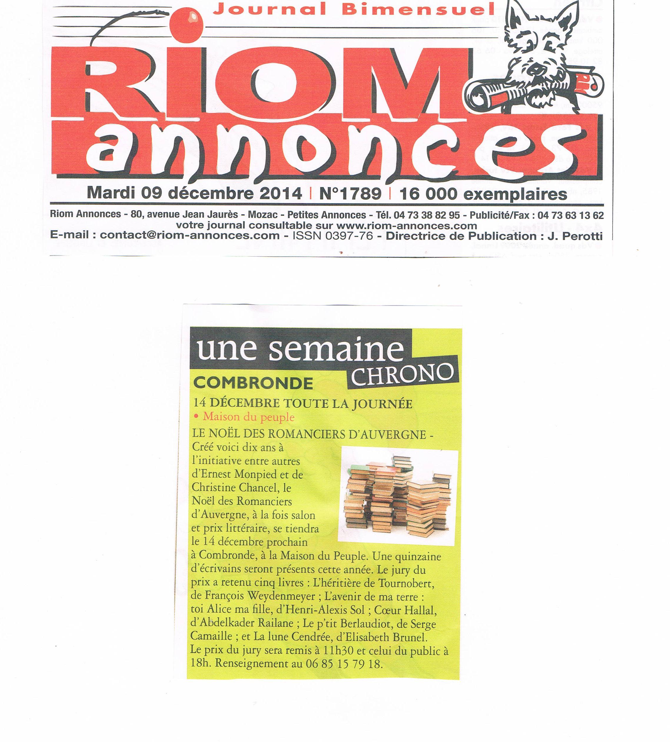 9.12 Riom annonces